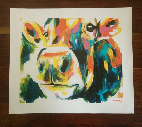 Mable the Cow printed on Canvas 42.5cm x 51cm by ArtByJackieM