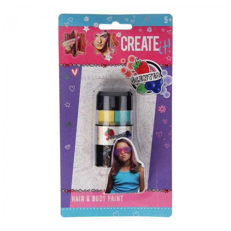 Maak jezelf mooi met deze haar en lichaamskrijt! Zo tover jij op een makkelijke manier de mooiste kleuren in je haar. Of je tekent de mooiste figuren op je gezicht, je armen, je benen of waar je maar wilt. Je gaat er ook nog lekker van ruiken, er zit namelijk een lekkere geur van fruit in verwerkt. Verschillende uitvoeringen wordendoor elkaargeleverd.Afmeting: verpakking 20 x 11 x 2 cm - Create It! Haar en Lichaam Krijt.