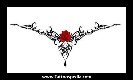 Rose tattoo design for lower back