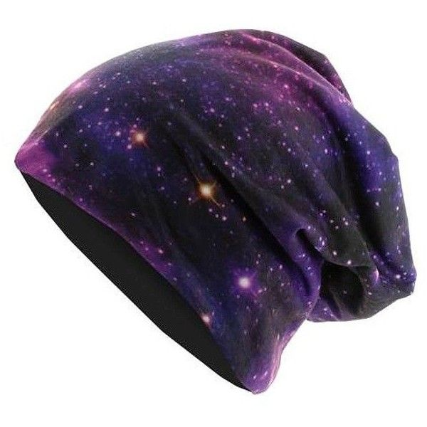 MasterDis Printed Jersey Beanie Galaxy ❤ liked on Polyvore featuring accessories, hats, beanie, head, galaxy hat and beanie hats
