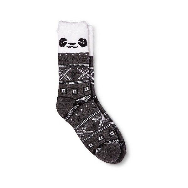 Women's Cozy Feather Lined Crew Socks Dark Gray Panda One Size ($7) ❤ liked on Polyvore featuring intimates, hosiery, socks, dark heather, fair isle socks, panda socks, crew socks, lined socks and merona
