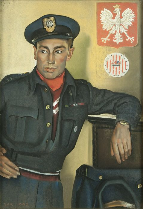 Squadron Leader Wojciech Kolaczkowski DFC by Eric Kennington, 1941 ↩