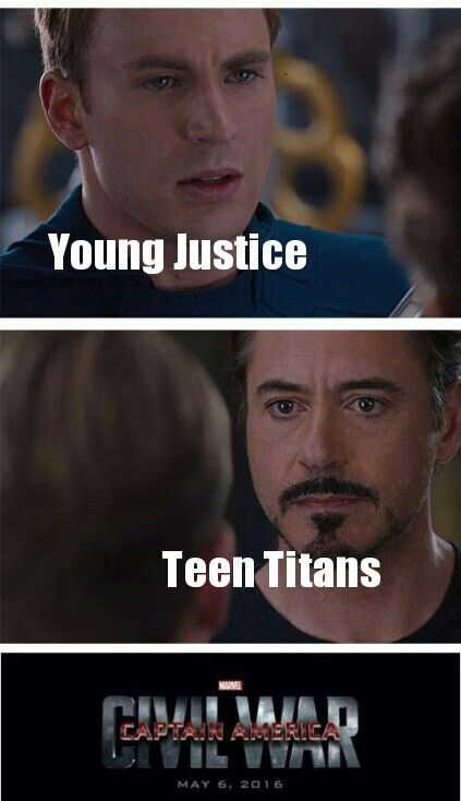 Hahaha I'm with Tony}} whoever commented this will die Team Young Justice and Team Cap all the way