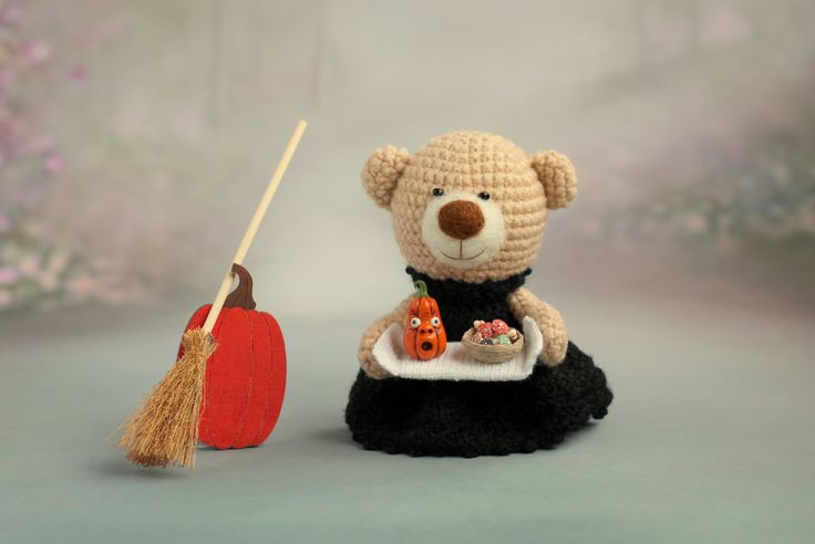 Crochet teddy bear with pumpkins, mushrooms and broom - small teddy bear, personalized bear gift, Halloween teddy bear READY TO SHIP by KnittedStoryBears on Etsy