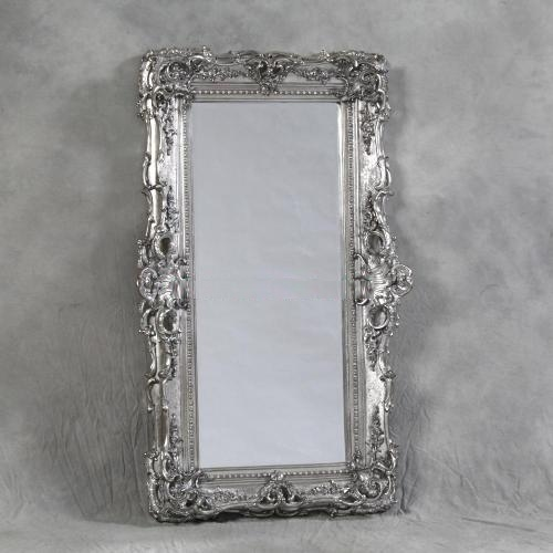 Large rococo wall mirror in silver beau decor home for Large silver decorative mirrors