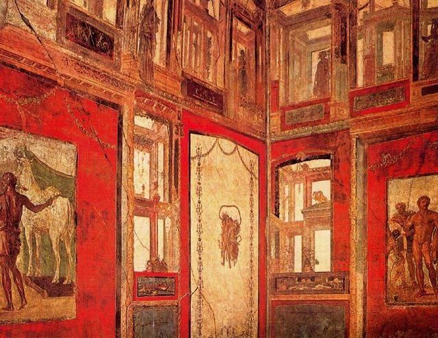 "***Fresco de la Casa de los Vettii, Pompeya, cuarto estilo o ""estilo ilusionista"" (segunda mitad del siglo I d.C)."