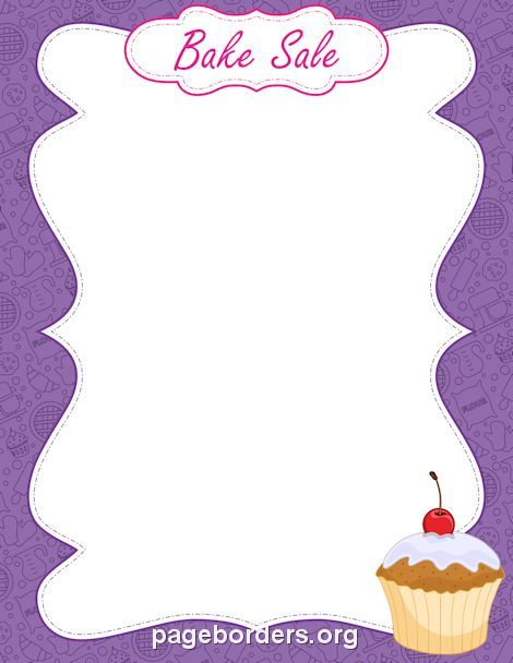 Printable bake sale border. Use the border in Microsoft Word or other programs for creating flyers, invitations, and other printables. Free GIF, JPG, PDF, and PNG downloads at http://pageborders.org/download/bake-sale-border/