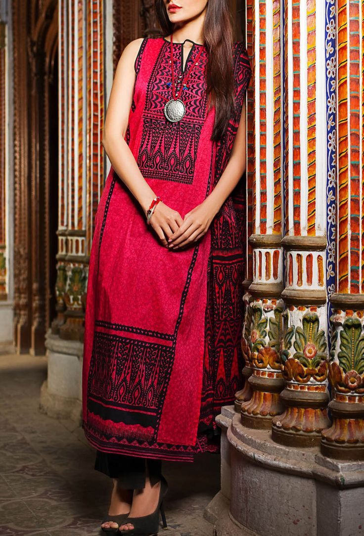 Buy Red Embroidered Cotton Lawn Dress by Khaadi Lawn Collection 2015.