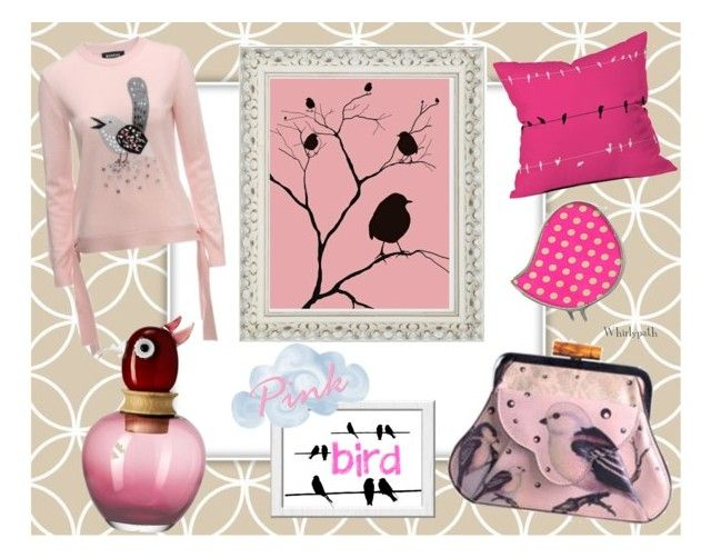 Pink Bird! by whirlypath on Polyvore featuring DENY Designs and Leonardo