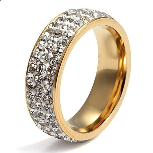 Womens Stainless Steel Eternity Ring Cubic Zirconia Crystal Circle Round,Gold,7mm Width,Size 7. Read more description on the website.