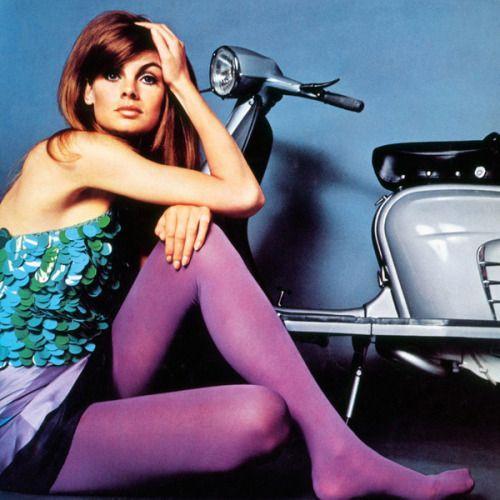 Model Jean Shrimpton. Purple tights.