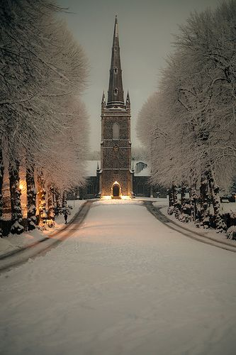 Hillsborough Parish Church at Night (in WInter), Down, Northern Ireland