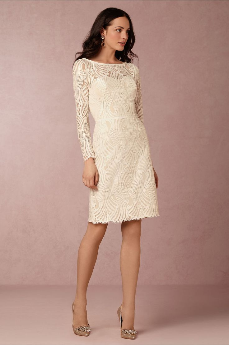 Robe mariage civil, manches longues, ivoire modèle Currant Wedding dress BHLDN                                                                                                                                                                                 Plus