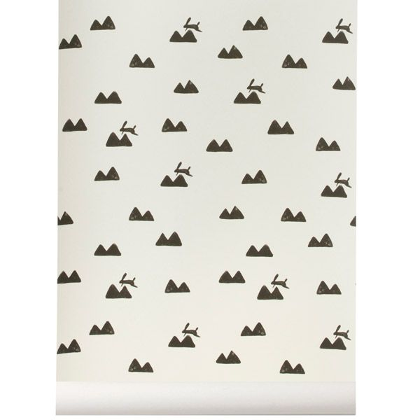 Rabbit wallpaper, off-white, by Ferm Living.