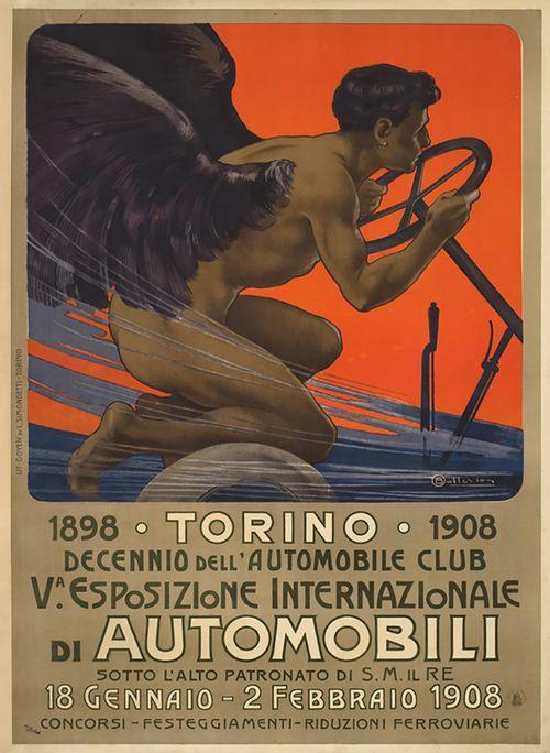 Esposizione Internazionale di Automobili - Torino, 1908. Designed byOsvaldo Ballerio 1870-1942