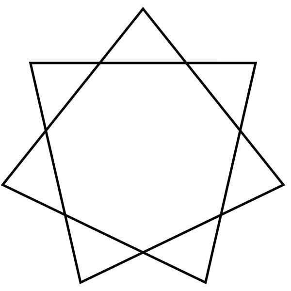 Unicursal heptagram, 7 pointed star with 7 straight lines that form the shape of a heptagon in the middle.
