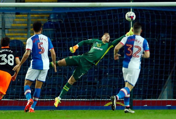 Action shot of Fletcher's goal against Blackburn Rovers