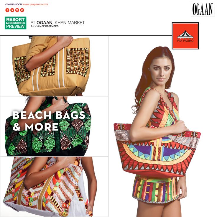 Beach bags might be convenient, but our's pack some serious style, too!   Stay prepared for your next trip to the coast; drop by our exclusive preview at OGAAN next week to see more by @piapauro.  #piapauro #fashion #design #fashiondesign #india #delhi #eclectic #embroidery #woman #urban #women #girlpower #independent