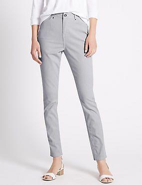 Roma Rise Ticking Striped Slim Trousers #trousers #leggings #skinny #women #woman #fashion #style #marksandspencer #kadın #pantolon #mscollection #autograph #peruna #limitededition #wideleg #slimleg #straightleg