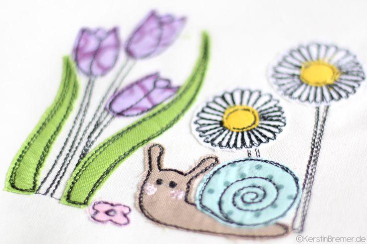 Süße Schnecke in einer Blumenwiese ♥ Doodle Applikation Stickdatei von KerstinBremer.de ♥ So cute! Snail appliqué embroidery for embroidery machines. #sticken #nähmalen #nähen #sewing