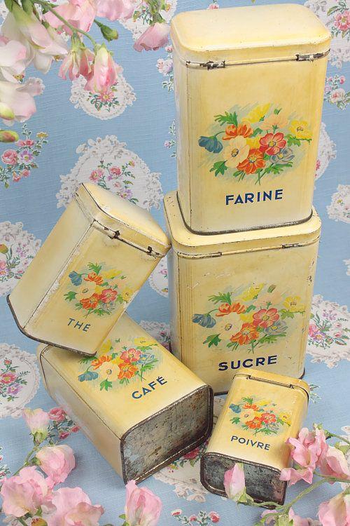 Vintage Home - Pretty 1930s French Storage Tins.