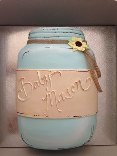 Baby shower cake - country style mason jar - created by Beverly's Best bakery in Brea, CA