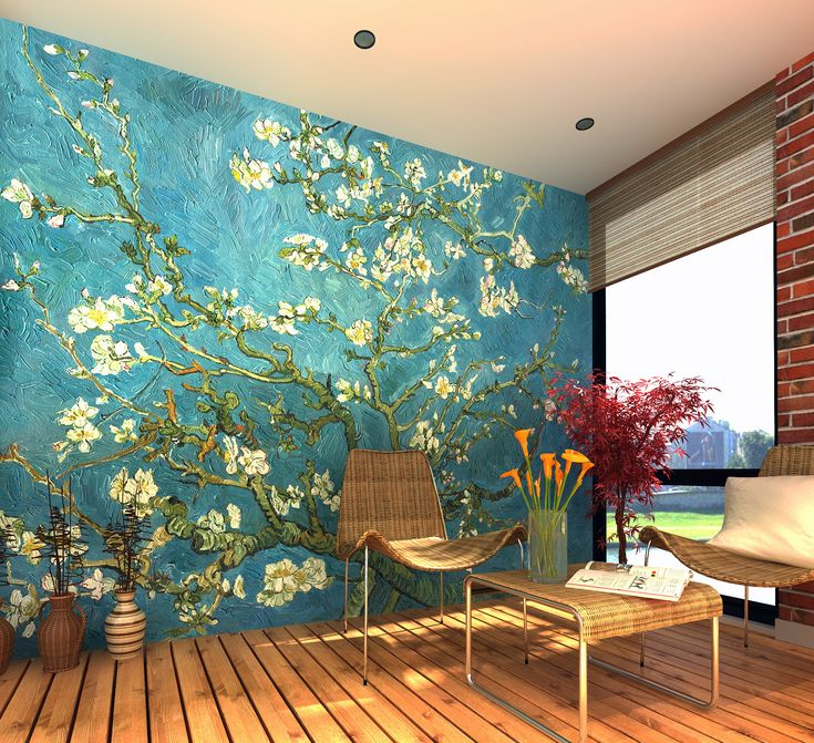 Van gogh almond blossom wall mural wallpaper for Digital print wallpaper mural