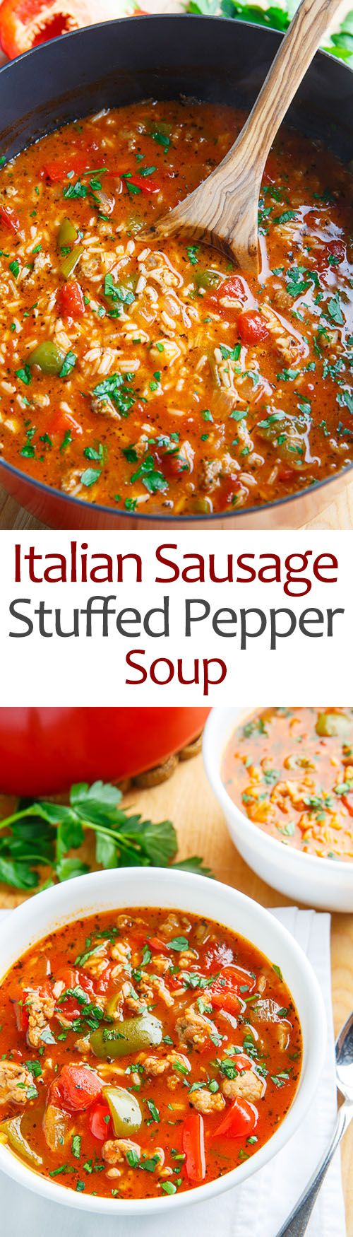 Italian Sausage Stuffed Pepper Soup - I made this with brown rice and pretty much followed the directions as given. I cooked the brown rice in beef broth instead of water and I used Fire Roasted diced tomatoes and that gave it a nice kick. I will definitely be making it again. It is delicious...