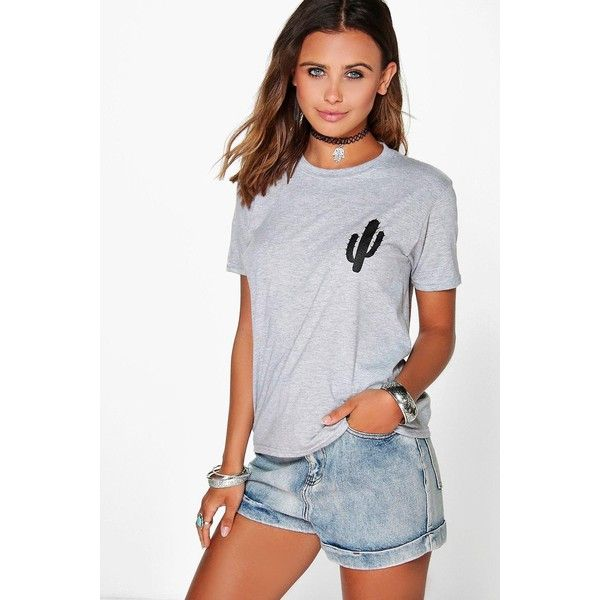 Boohoo Petite Petite Tammy Cactus Placement Print Tee (18 CAD) ❤ liked on Polyvore featuring tops, t-shirts, grey marl, crop tee, basic tee, long sleeve t shirt, crop top and ribbed tee