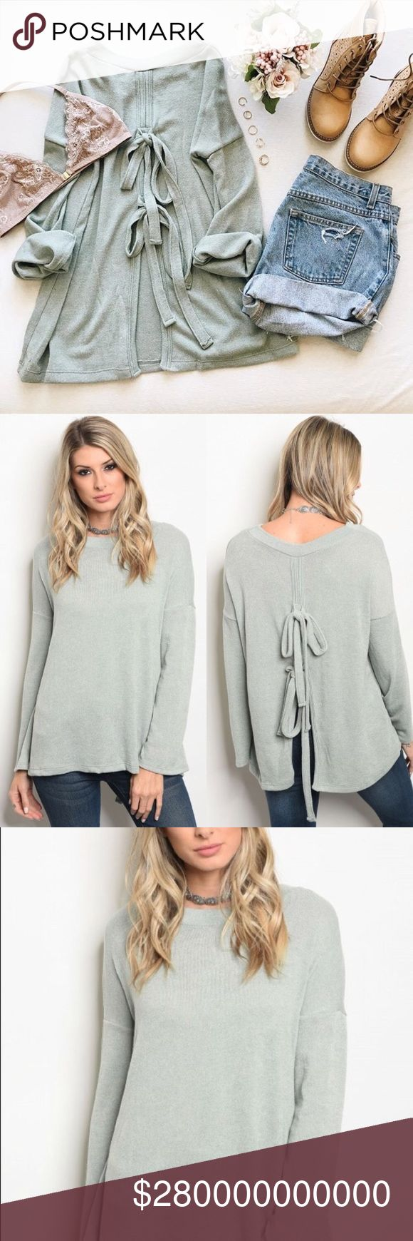 🍃COMING SOON🍃 Mint Long Sleeve Sweater Top 🍃 Sage/mint lightweight sweater with a tie accent on the back.  Polyester/spandex blend. Tops Blouses