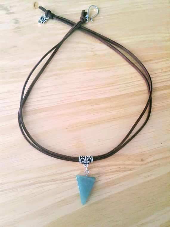 Green necklace Triangle necklace Jade necklace Boho