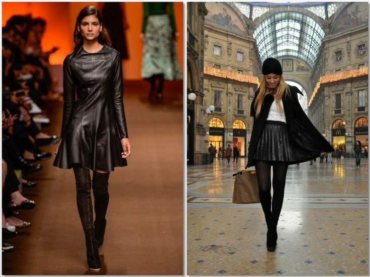 """Estes são, sem dúvida, dois dos meus looks preferidos para esta Estação. Estas mini-saias são um símbolo de feminilidade e ficam giríssimas com meias opacas e umas botas ou botins. Por outro lado, o couro (e cada vez mais a sua imitação) são um """"must have"""" para o Outono e Inverno. Em look total ou misturado com branco o couro preto fica sempre bem! Love it! <3"""