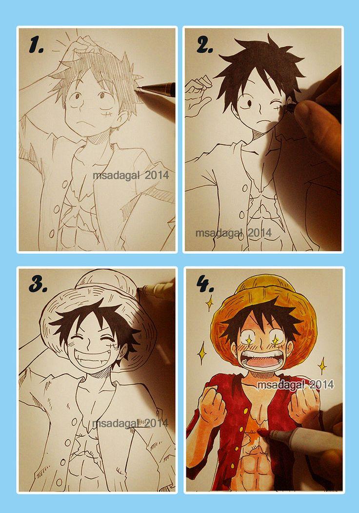 Hahah.... Achei muito criativo.. A reação do Luffy é a melhor| Arte by msadagal no deviantART