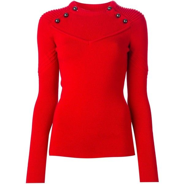 Isabel Marant ribbed detail sweater ($560) ❤ liked on Polyvore featuring tops, sweaters, red, form fitting tops, isabel marant top, red long sleeve top, long sleeve tops y isabel marant sweaters
