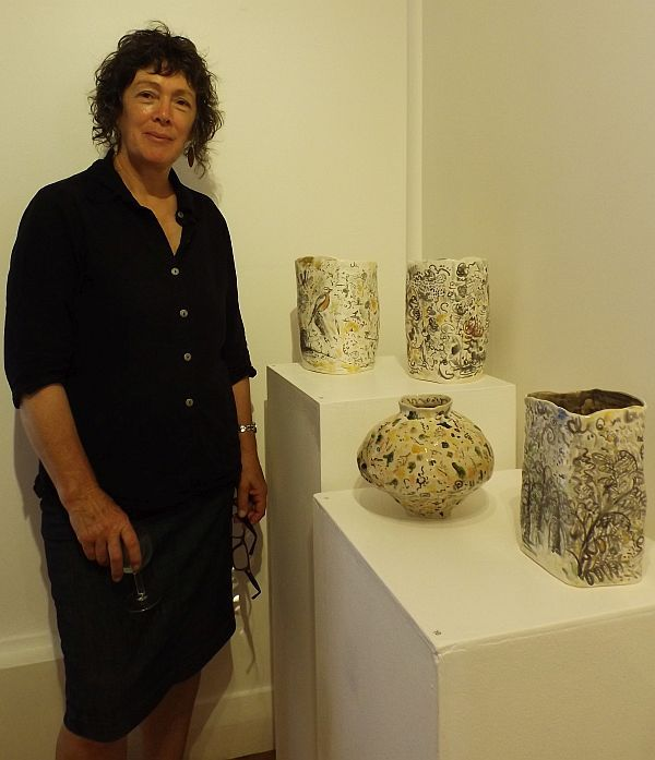 Gwenna Green exhibiting artist at the opening for Mudlarks, Strathnairn Arts, 19 February to 15 March 2015
