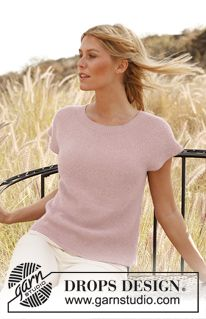 "Rose of May - Knitted DROPS top in garter st in ""Alpaca"". Size: S - XXXL. - Free pattern by DROPS Design  V"