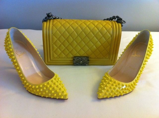 I usually don't try to match my bag and my shoes but I can't resist taking a picture of these two together!   Spikey CL with my yellow Chanel quilted le boy!