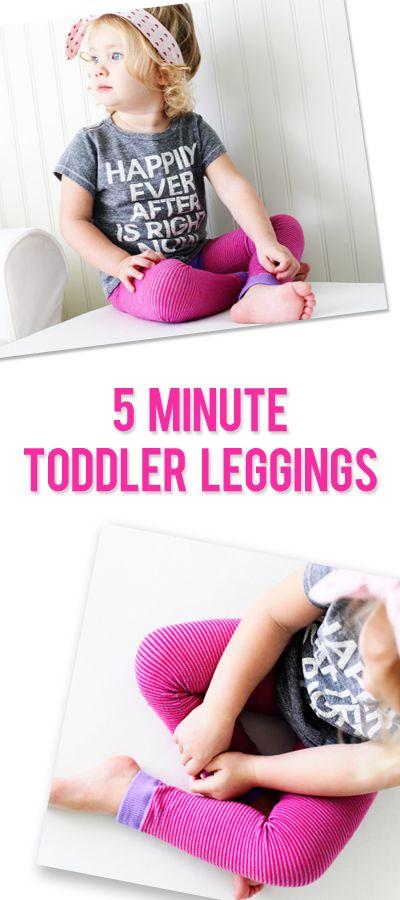 5 minute toddler leggings   #howdoesshe #leggings #diyleggins #toddlerclothes #toddlerleggings howdoesshe.com