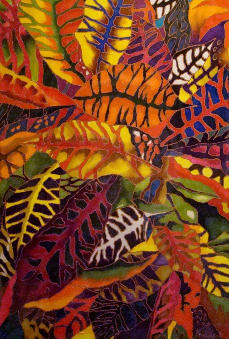 Croton leaves. Silk painting by Michele Shute 2015