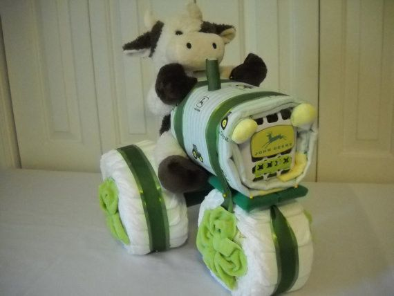 A John Deere tractor.   31 Diaper Cake Ideas That Are Borderline Genius