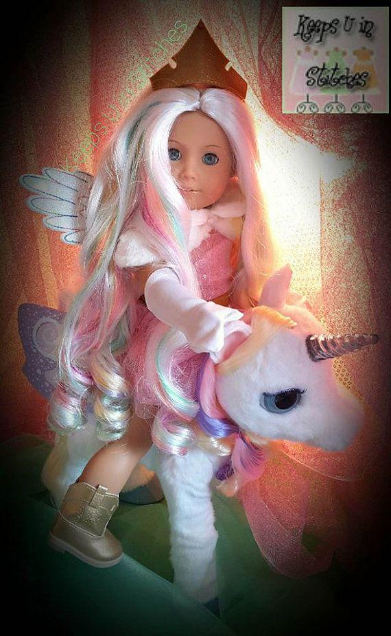 KUiS ~ exclusif ~ Ltd. éd. poupée Collector Costume, Couronne et accessoires: 18 po poupée taille ailes ~ couleur personnalisée à Match BC Licorne perruque!