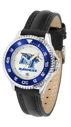 Middle Tennessee State MTSU NCAA Womens Leather Wrist Watch by SunTime. $72.95. Showcase the hottest design in watches today! A functional rotating bezel is color-coordinated to compliment your favorite team logo. A durable long-lasting combination nylon/leather strap together with a date calendar round out this best-selling timepiece.. Save 21%!