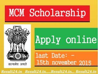 students who wants to apply for MOMA Scholarship 2015 Online Application Form, they can apply at Scholarship.gov.in till date 1st October.