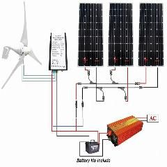 [ $90 OFF ] 800W Kit Wind Turbine: 400W Wind Generator + 3*160W Solar Panel + 1000W Inverter