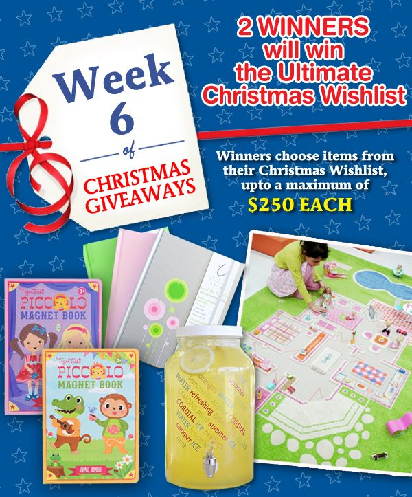 Create a Pinterest board, called, Lime Tree Kids Christmas Gift Picks with YOUR favourite gift ideas from our 2013 Christmas Catalogue and go into the draw to WIN toys from YOUR wishlist!! *   PLUS  You have the chance to WIN a gorgeous prize every week!! Details here http://www.limetreekids.com.au/news-have-a-very-pinterest-y-christmas-contest-69.aspx