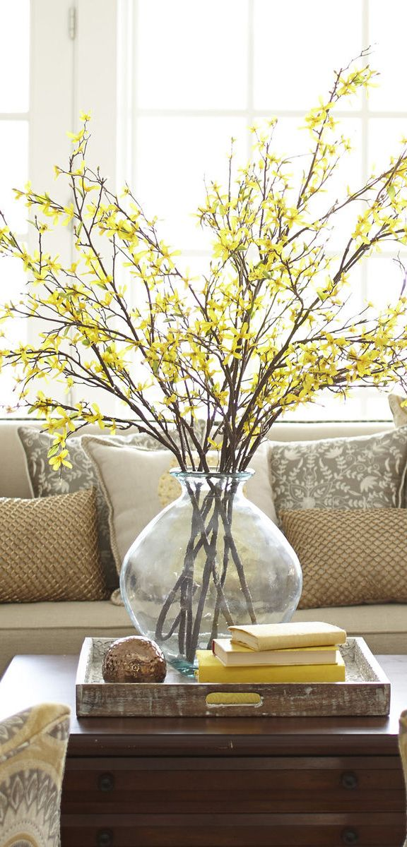 faux forsythia branch spring home decor
