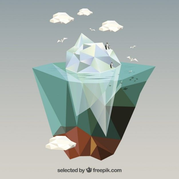Iceberg polygonale Vecteur gratuit