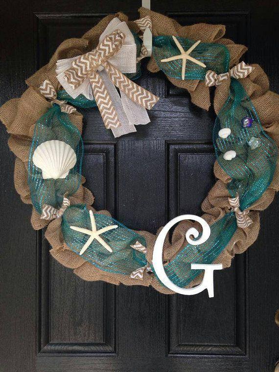 Monogrammed Wreath Beach Wreath Sea Shell by KristenKCreations