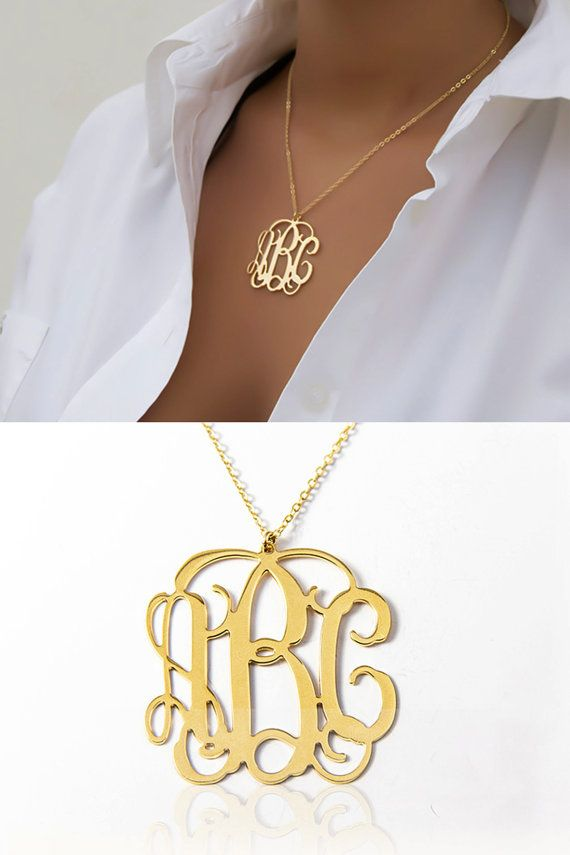 Lowest price on Etsy - 1.25 inch Personalized Monogram Necklace - 18K Gold Plated