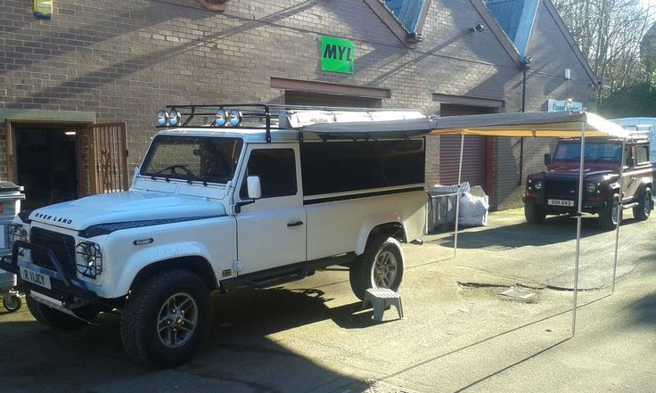 Customer's Defender with the Hawk Wing Awning fitted - Expedition Time!!  http://www.direct4x4.co.uk/types/tents-awnings/hawk-wing-roof-tent-awning.html - #Defender #LandRover #Awning #Expedition #Camping #GreatOutdoors